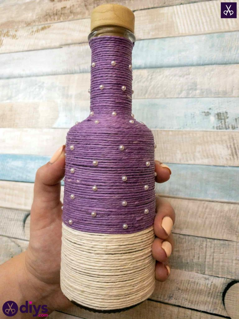 Twine wrapped bottle craft