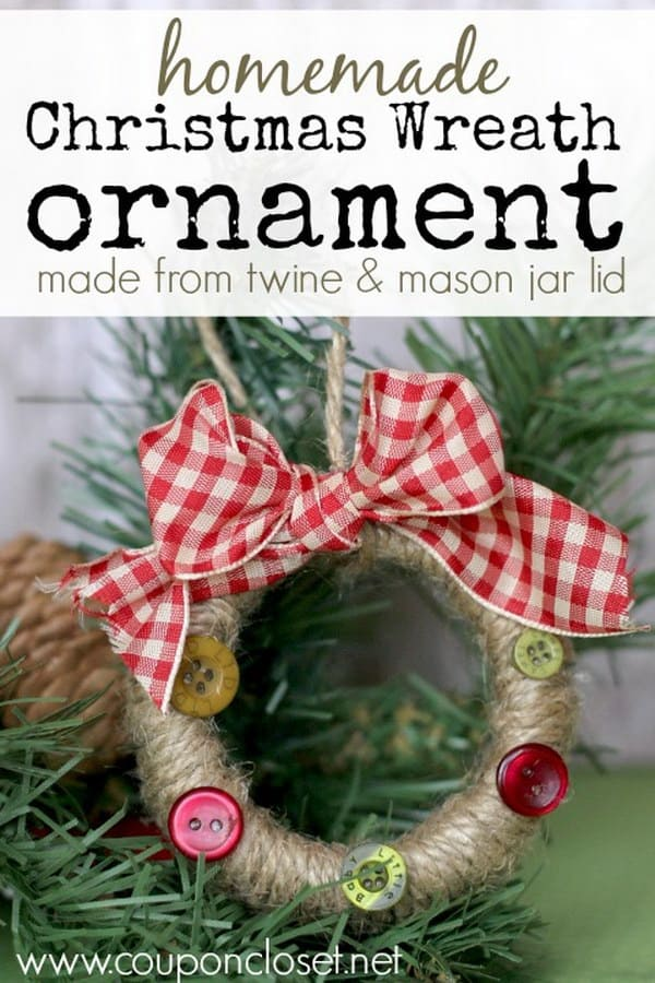 Twine and button wreath ornament
