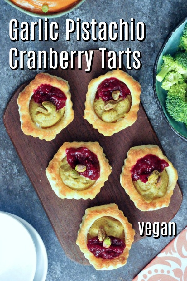 Vegan garlic pistachio cranberry tarts