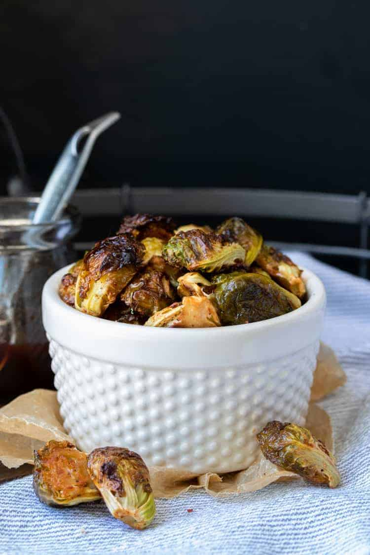 Vegan spicy maple roasted brussel sprouts
