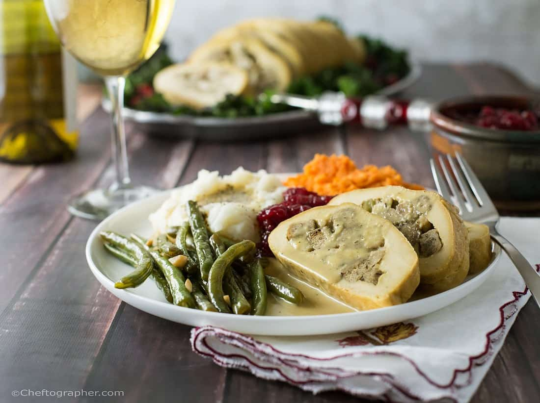 Vegan stuffed turkey roll