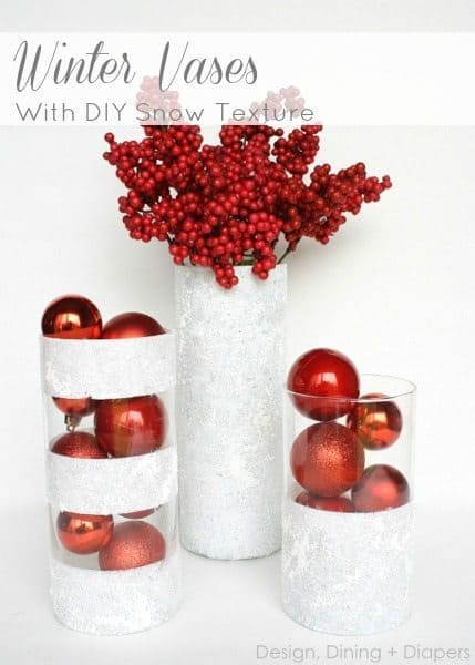 Winter vases with snow texture