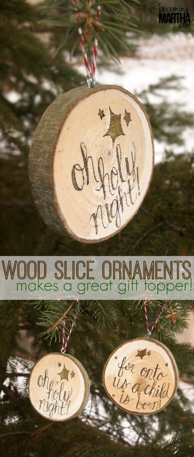 Wood slice tree ornaments