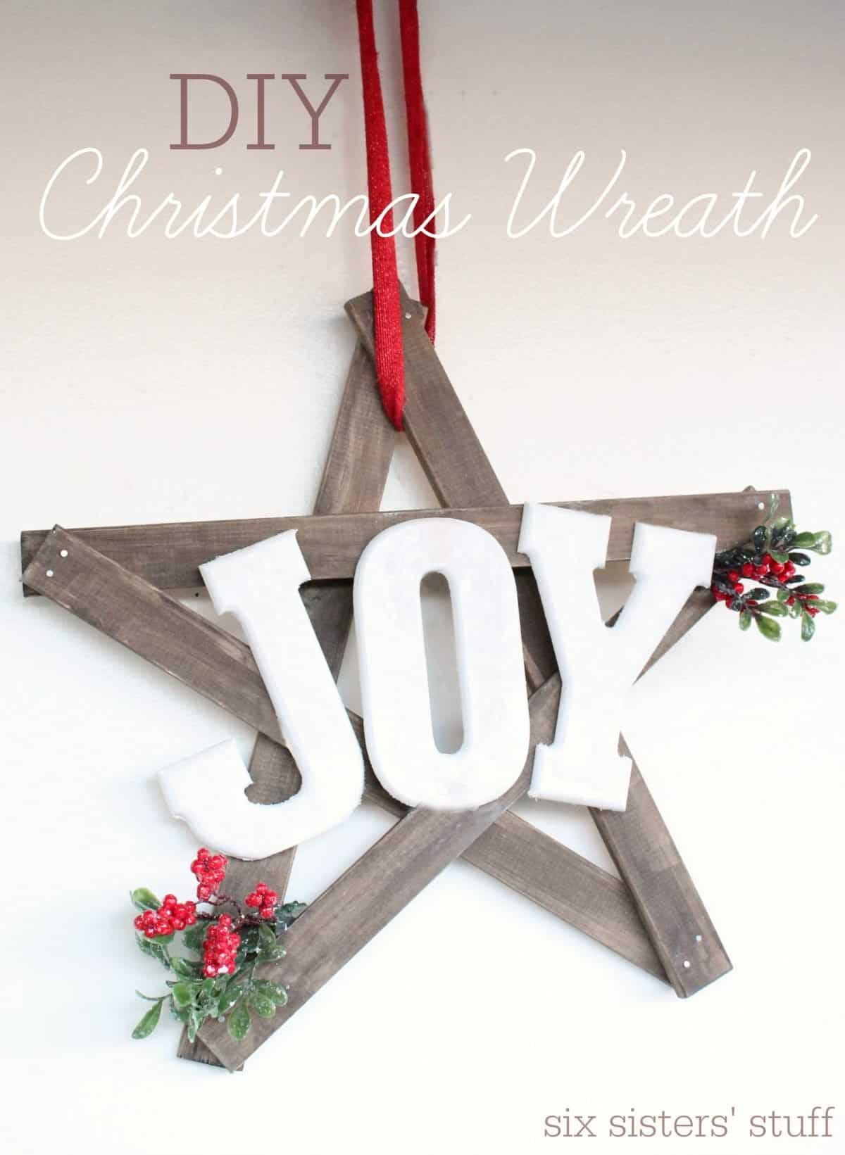 Wooden farmhouse joy wreath