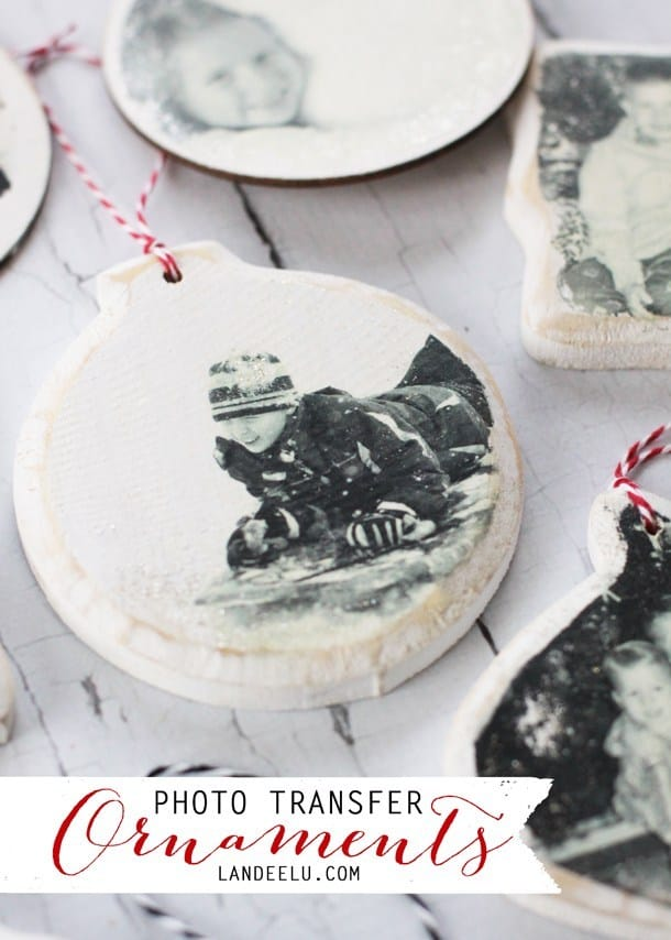 Wooden photo transfer ornaments