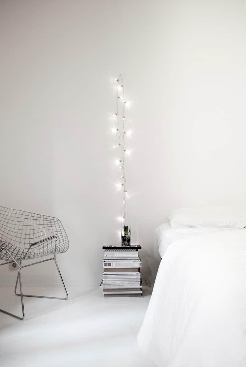 Bedside light with string lights