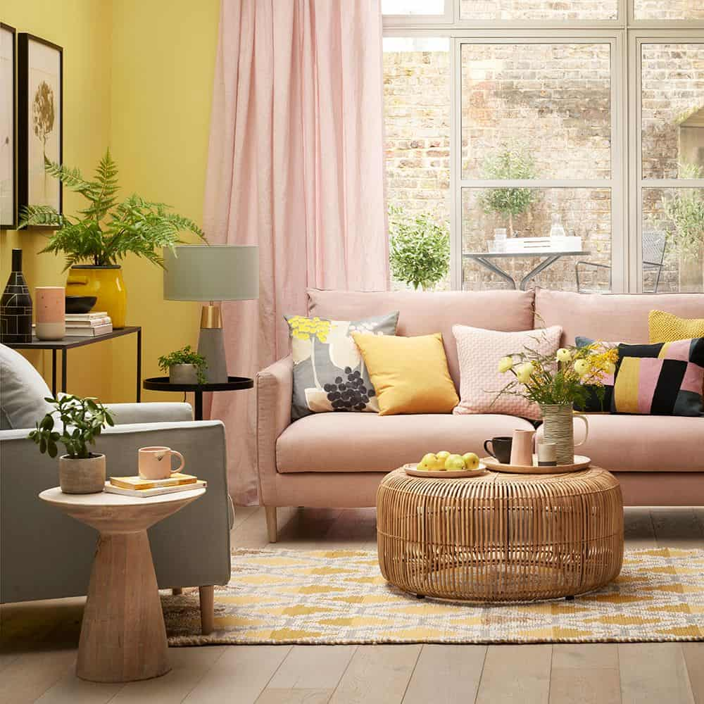 Blush and yellow living room