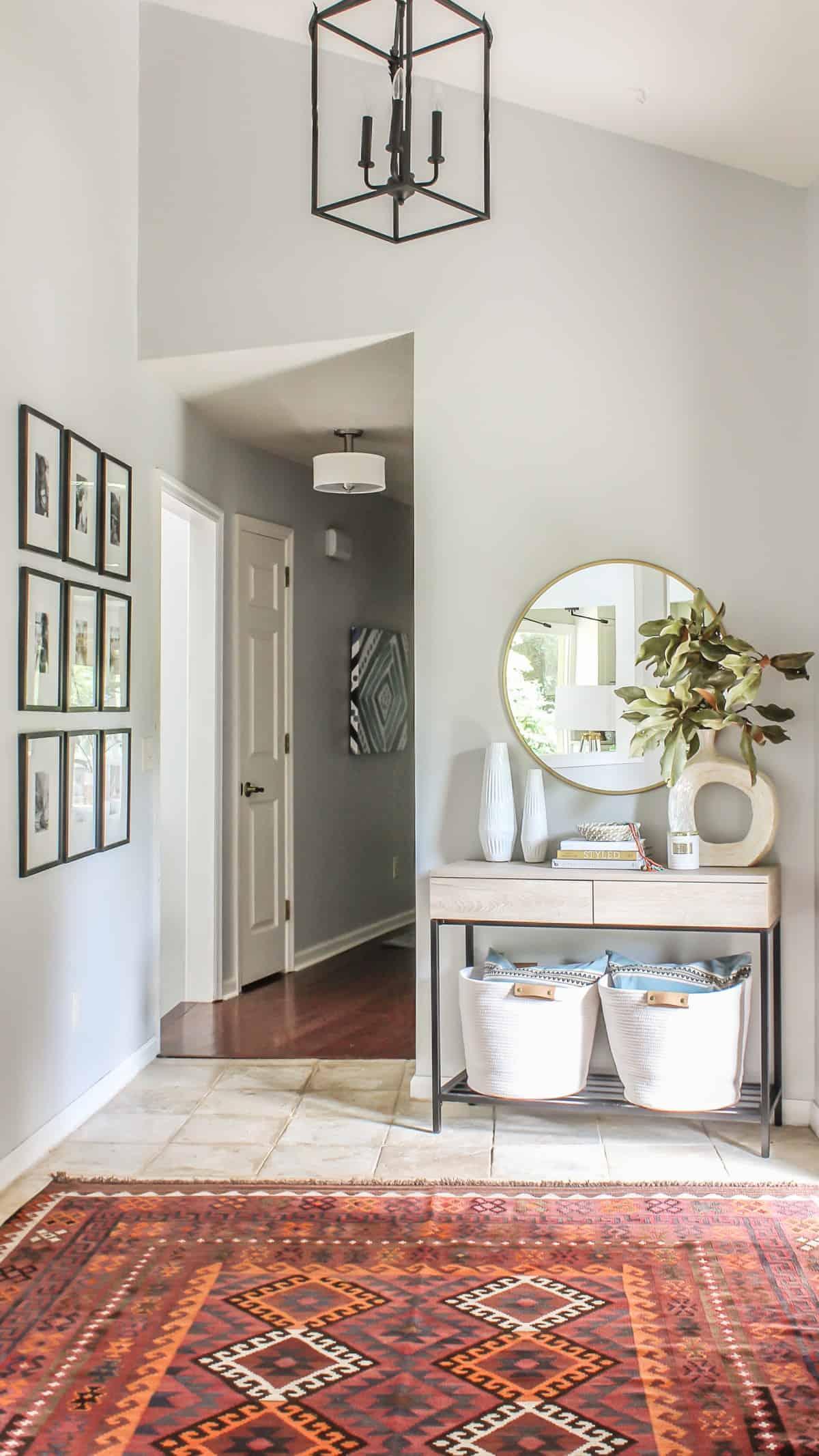 Boho modern foyer decor