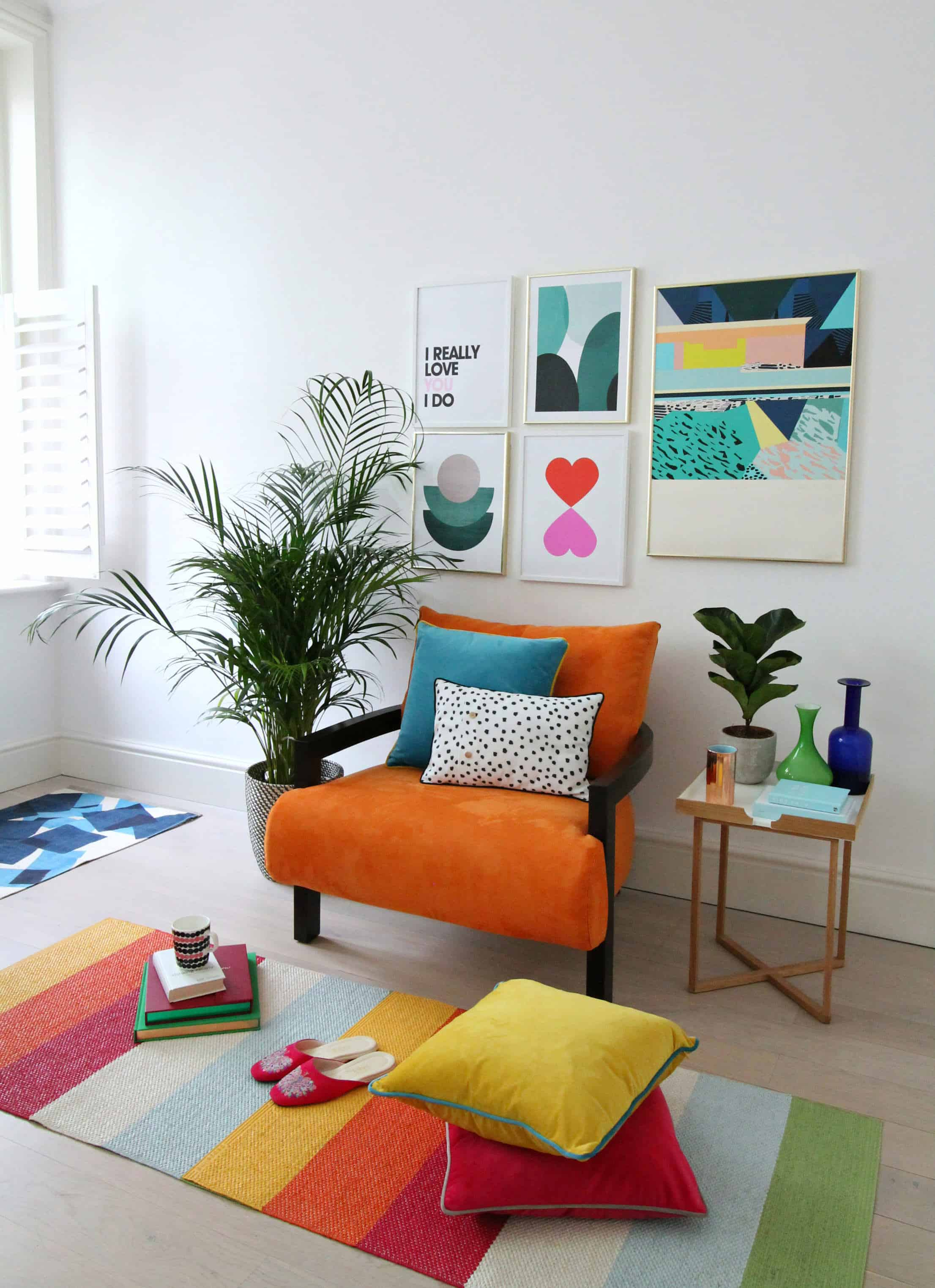 Burnt orange and yellow interior design