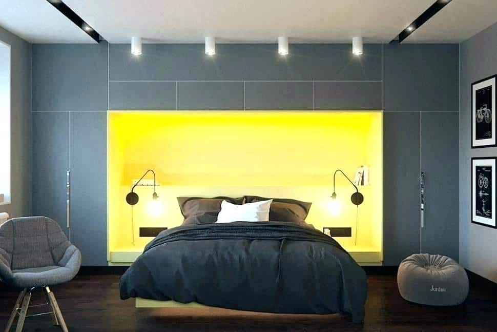Charcoal and yellow bedroom