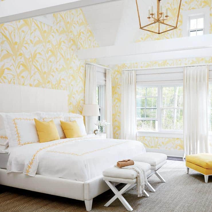 Crisp white and yellow bedroom