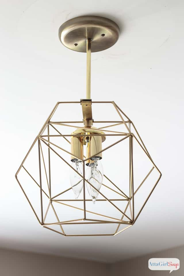 Diy brass geometric globe pendant light