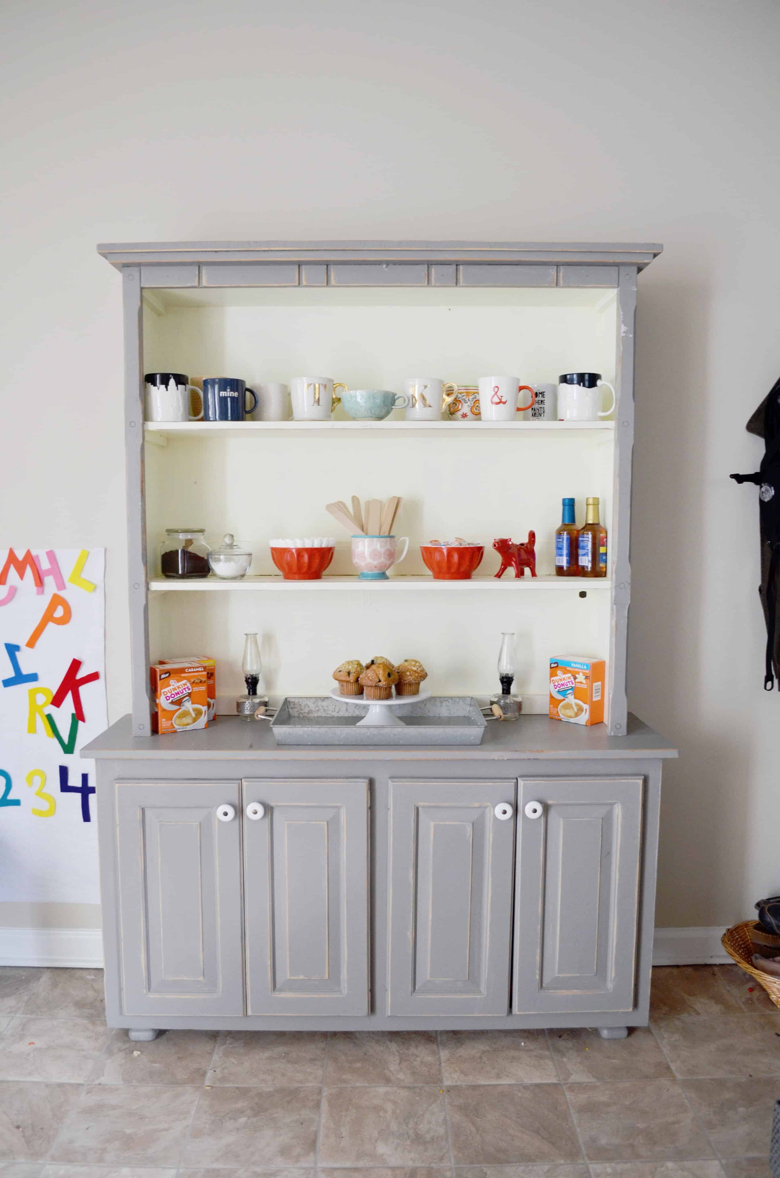 Diy coffee station with a hutch