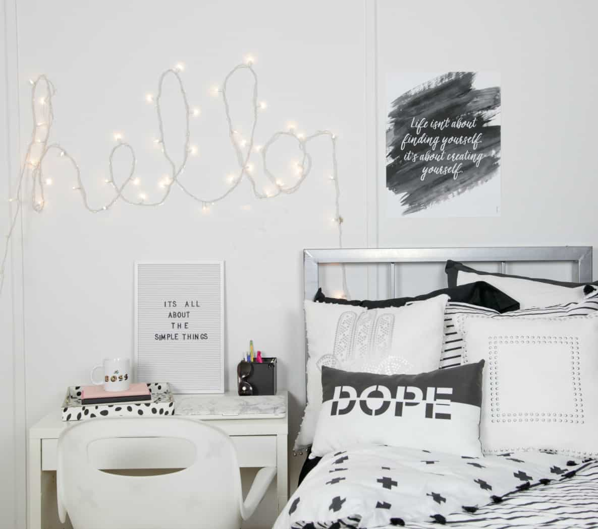 Diy hello wall art with string light