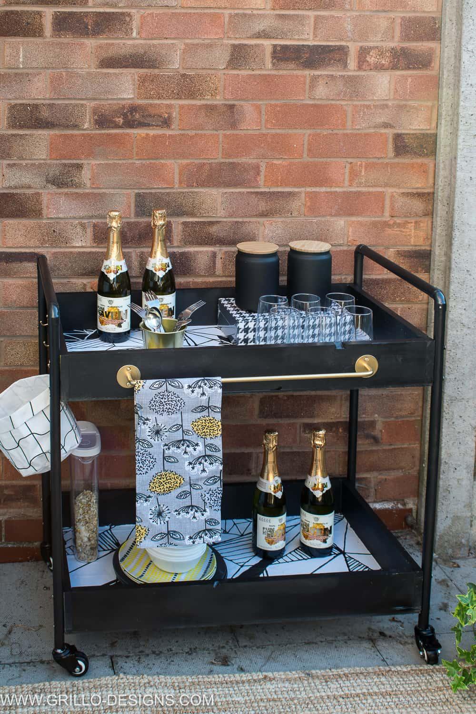 Diy industrial bar cart