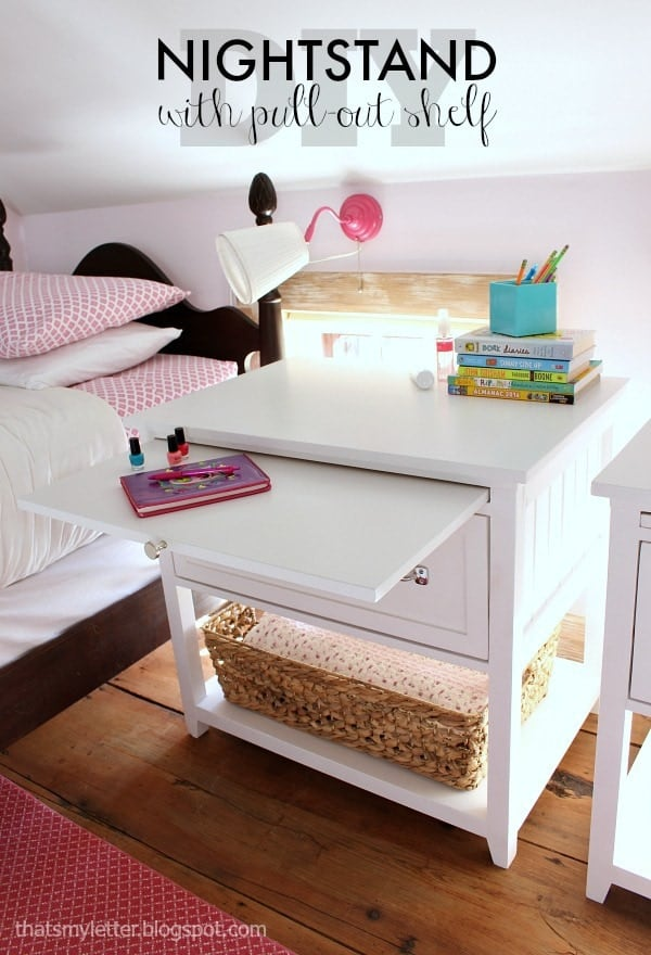Diy nightstand with pull out shelf
