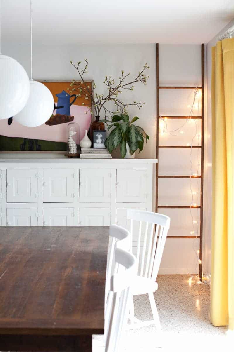 Diy string lights on a ladder