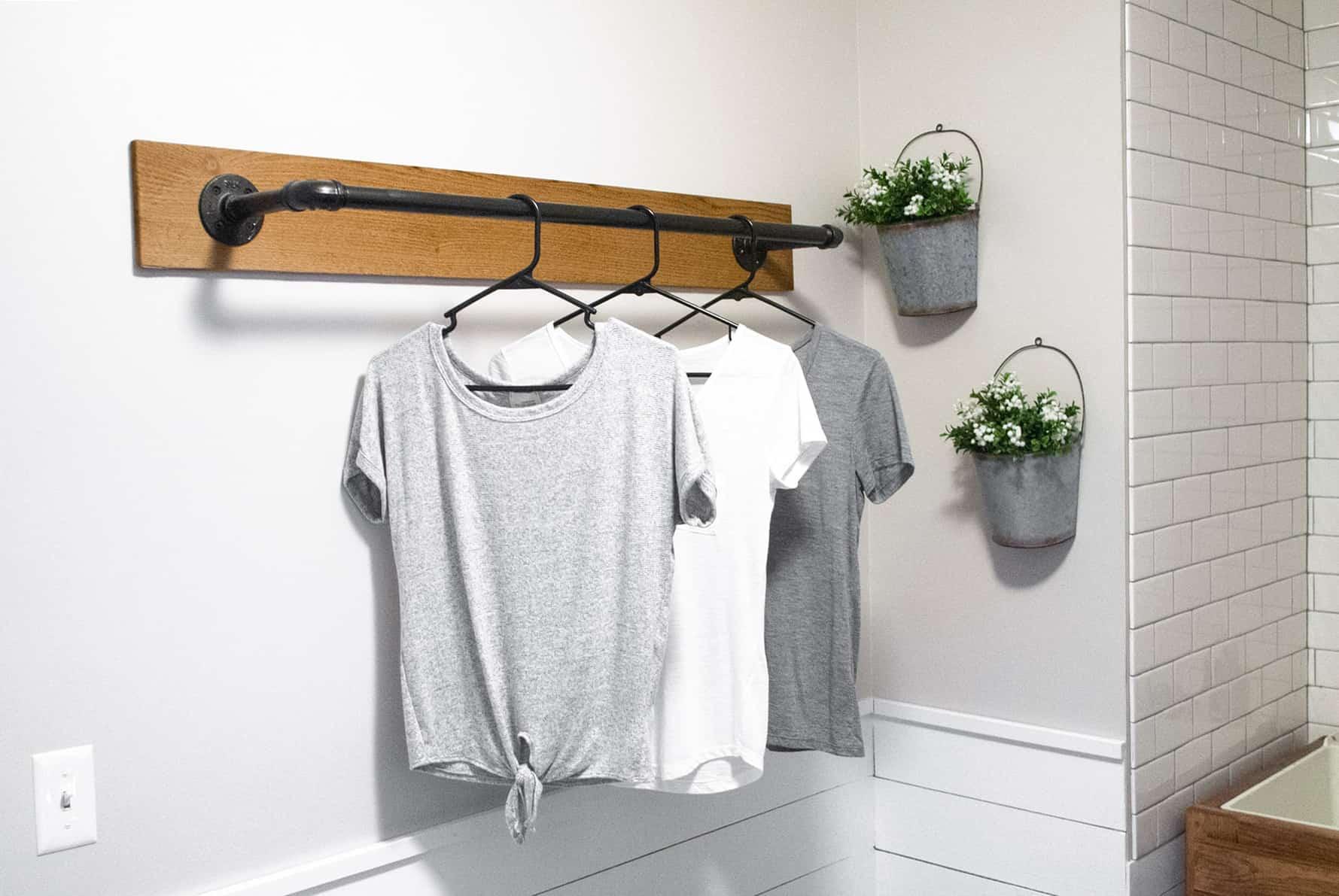 Diy wall mounted clothing rack