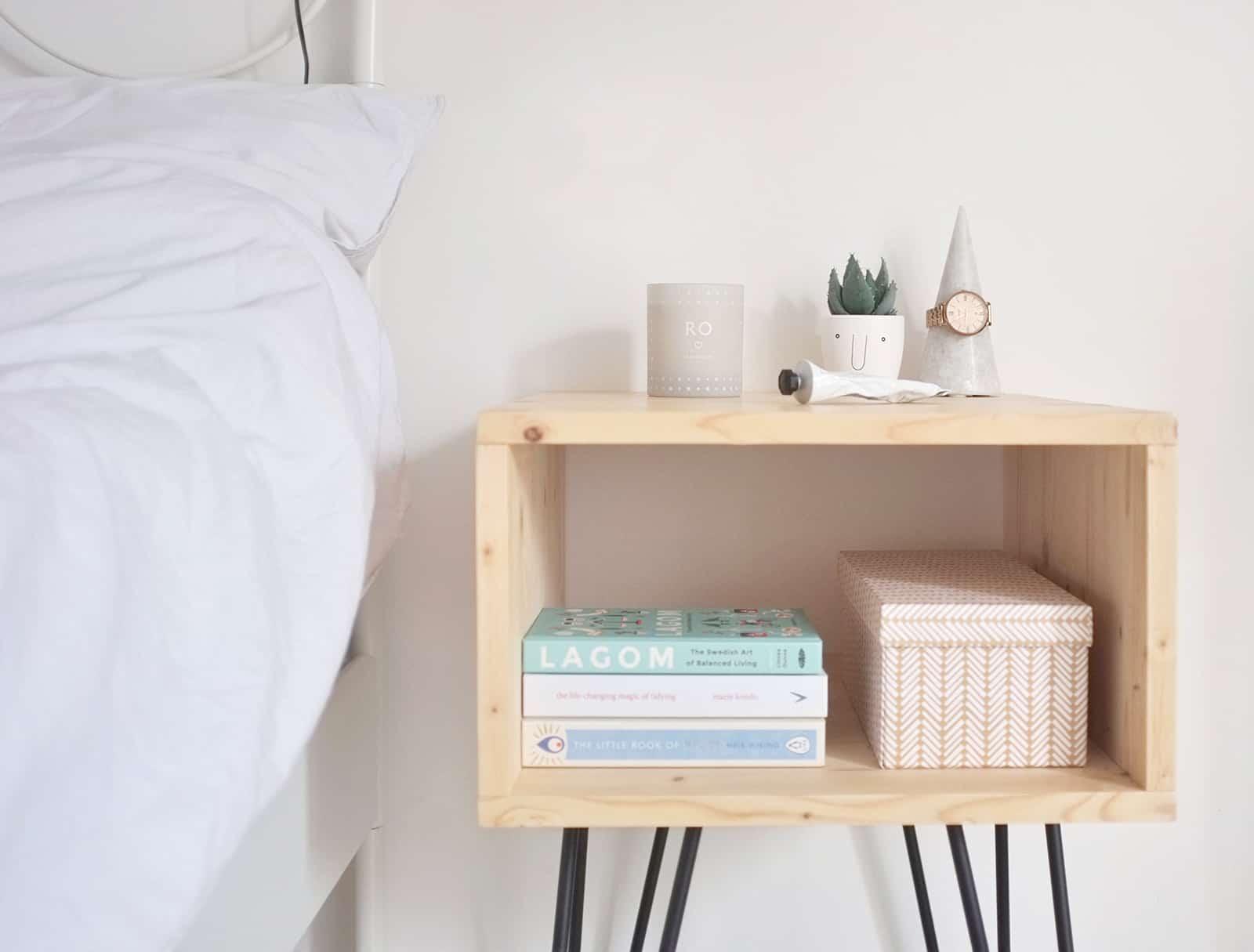 Diy interior nightstand hairpinlegs bedroom