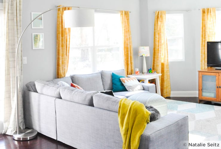 Heather gray and yellow living room