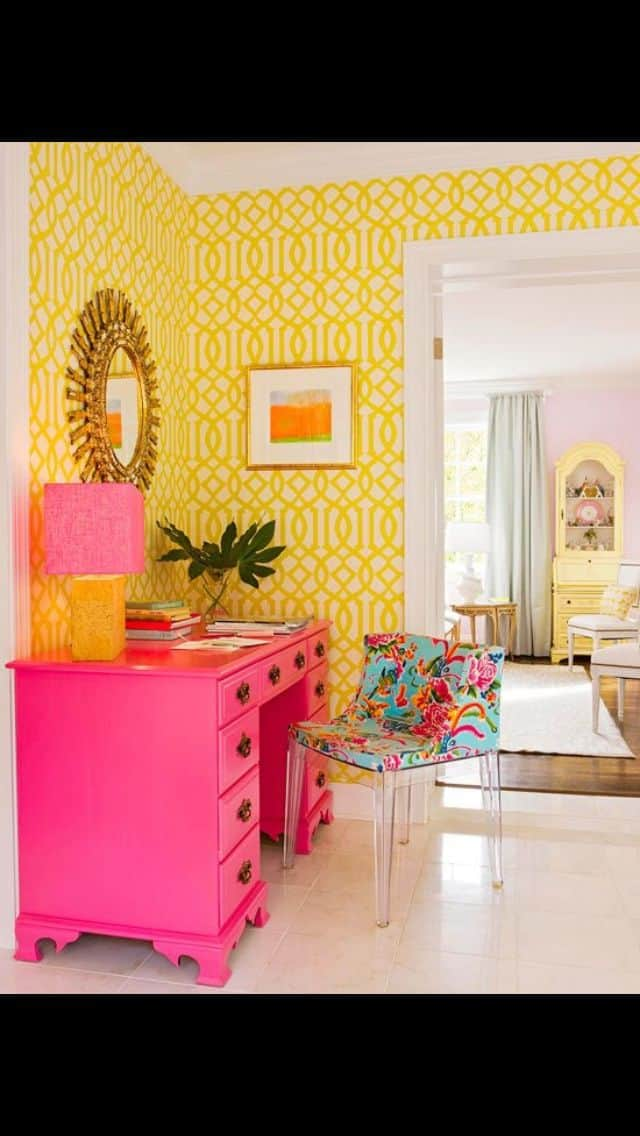 Hot pink and yellow interior design