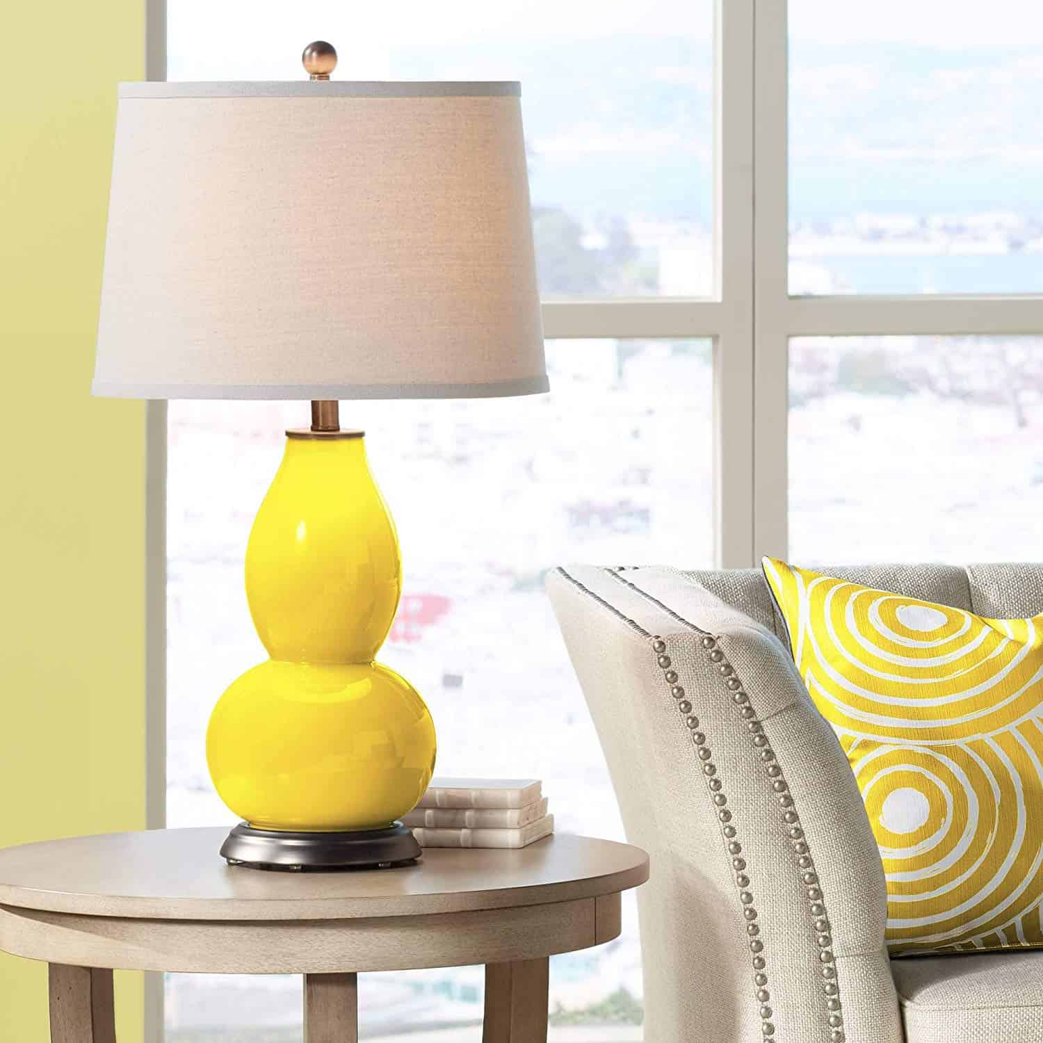 Off white and yellow living room