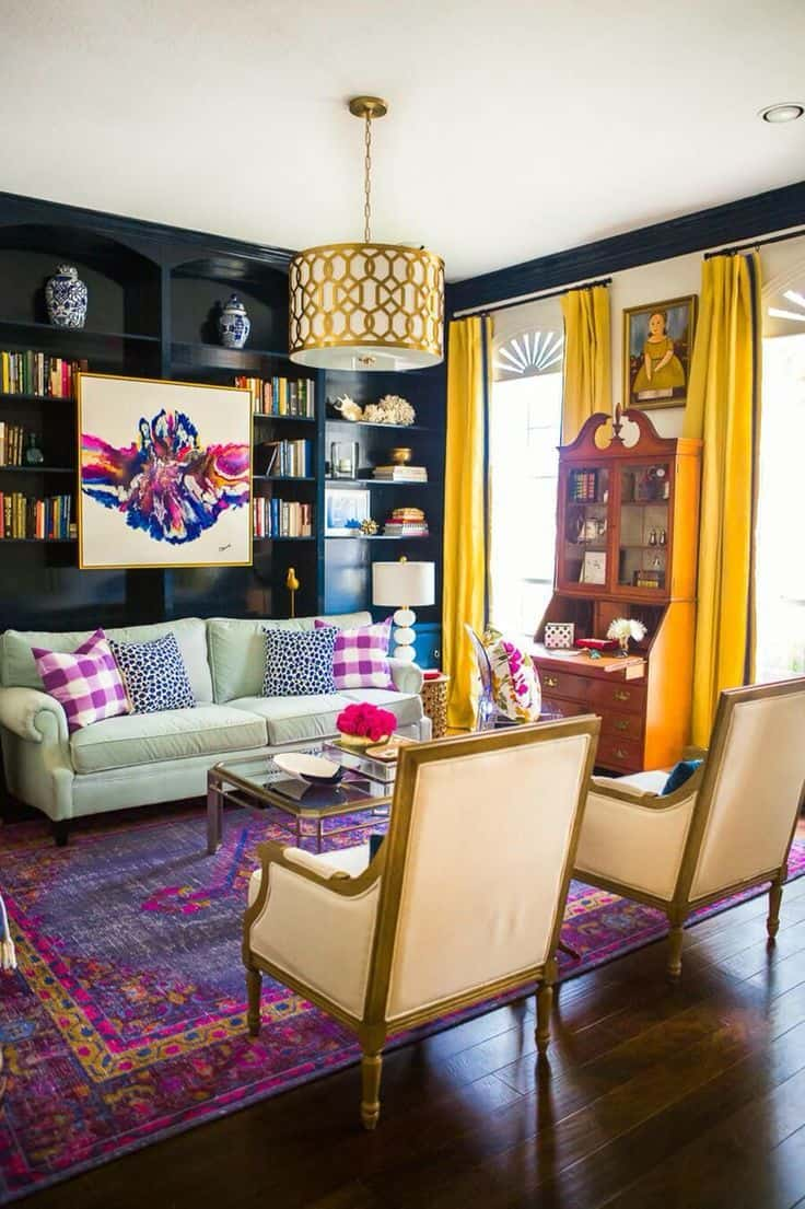 Plum and yellow living room