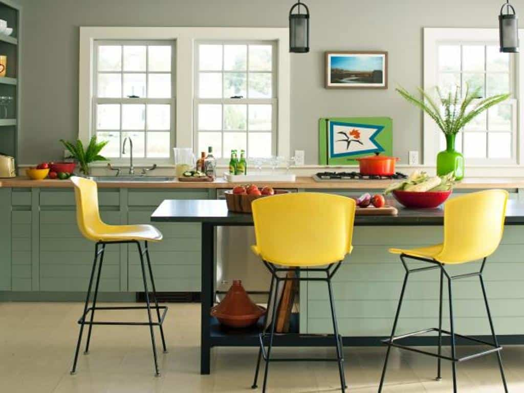 Sage and yellow kitchen