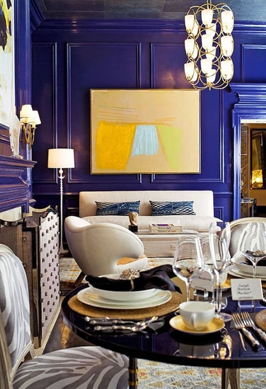 Sapphire blue and yellow room