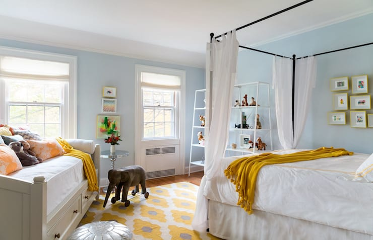 Sky blue and yellow bedroom
