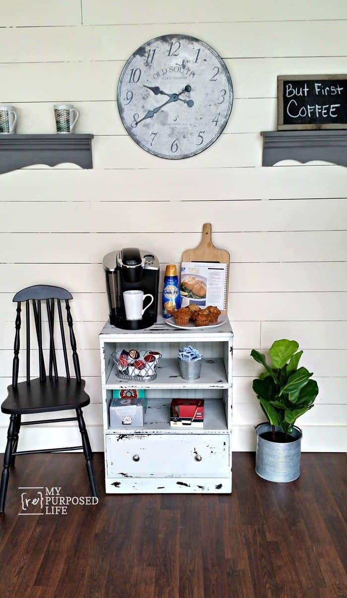 Small repurposed nightstand coffee station myrepurposedlife com