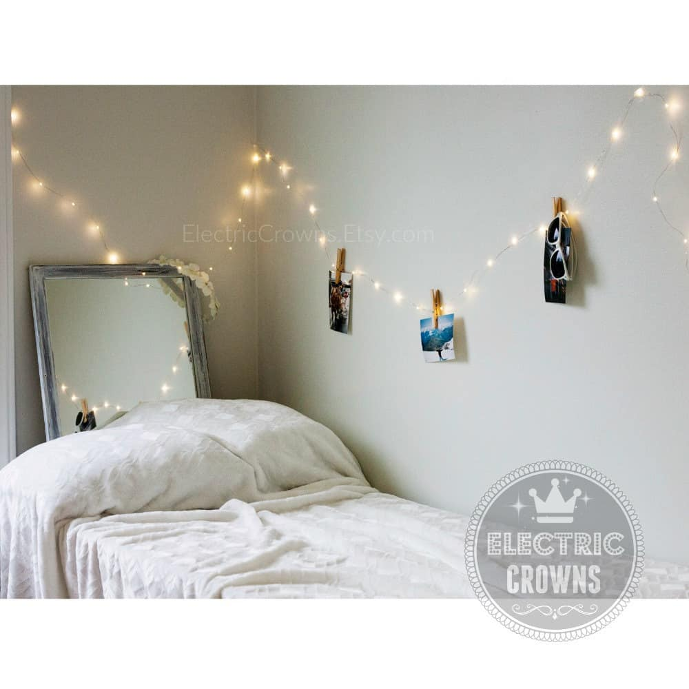String lights to hold up photos bedroom diy