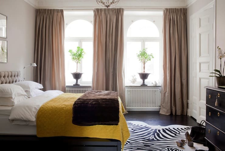 Yellow and taupe bedroom