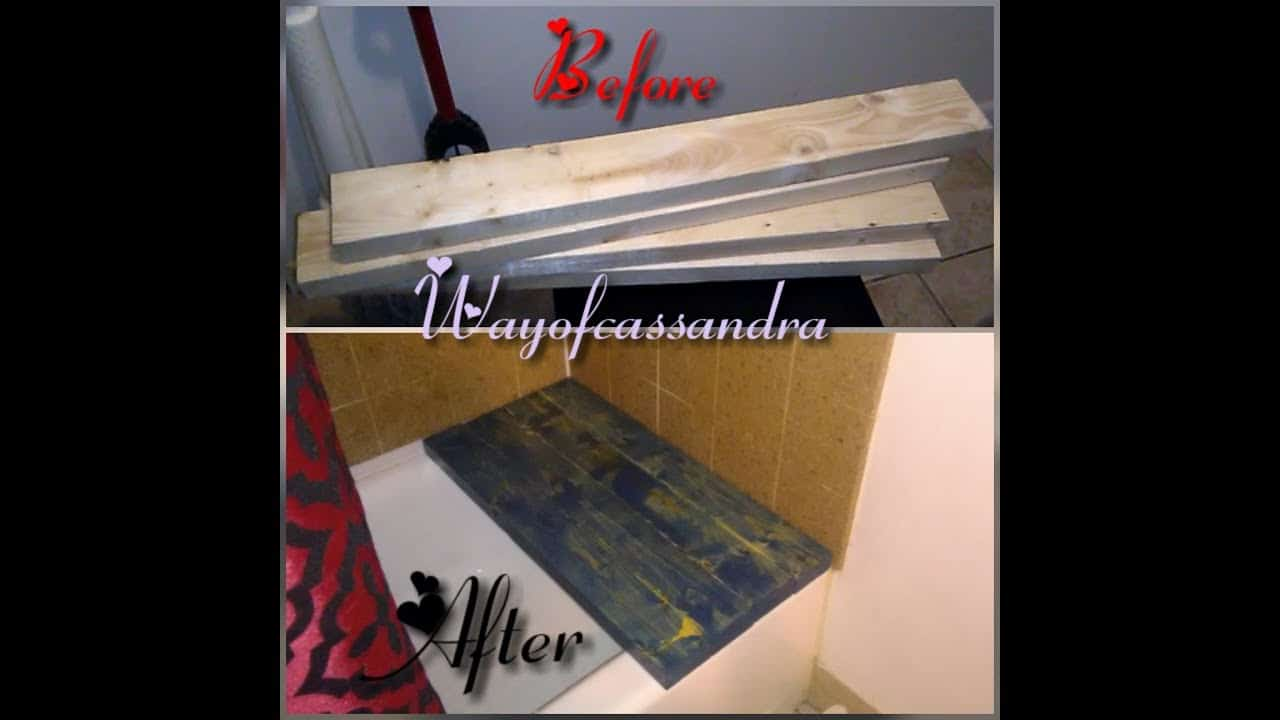 2x4 shower bench for over one end of the bath