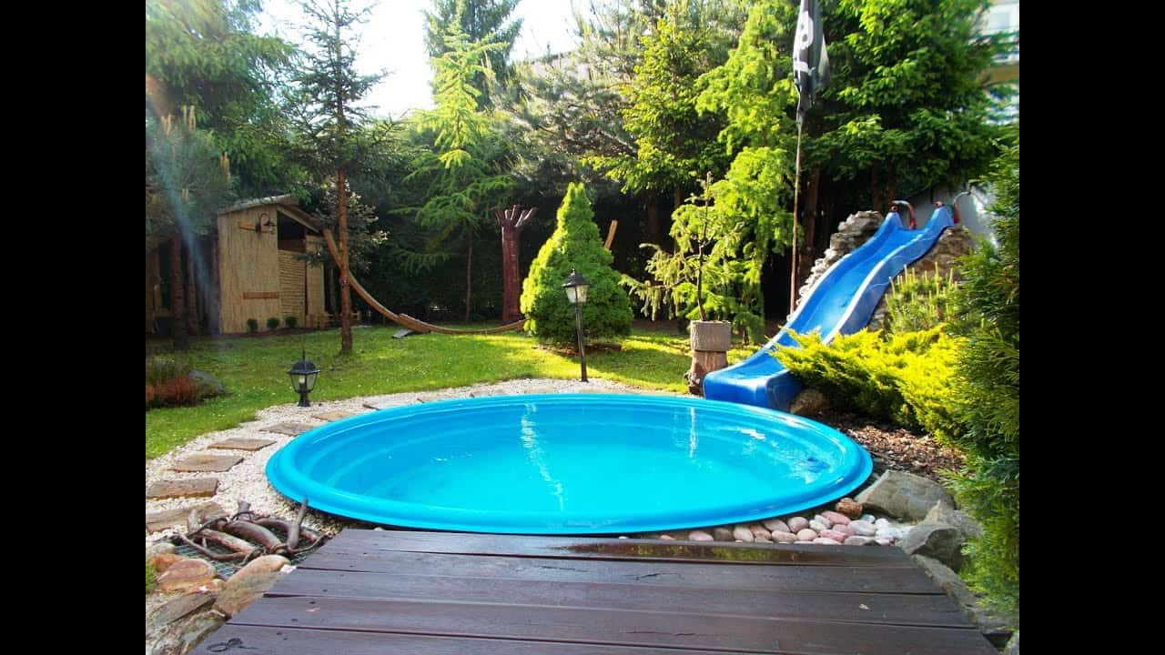Affordable large plastic in ground pool with slide