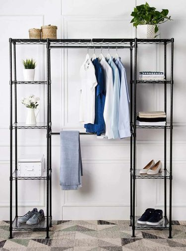 Amazonbasics expandable rack wardrobe with shelves