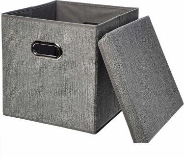 Amazonbasics foldable burlap cloth cube storage bins