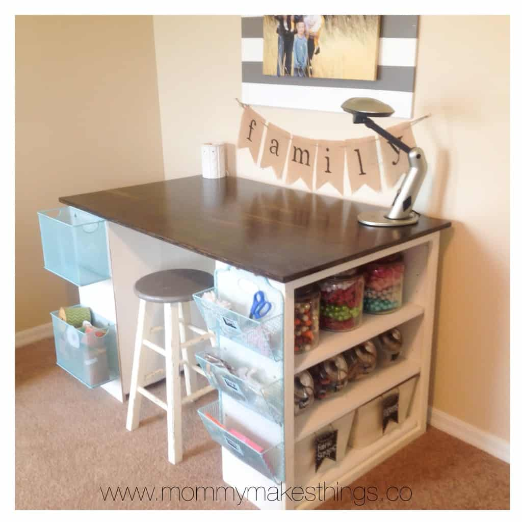 Baskets and shelves crafting table for under $75