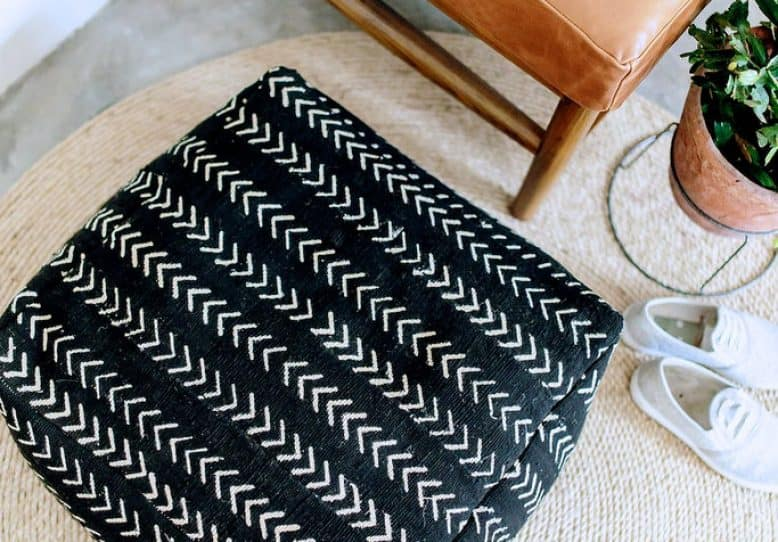 Black and white diy floor cushion