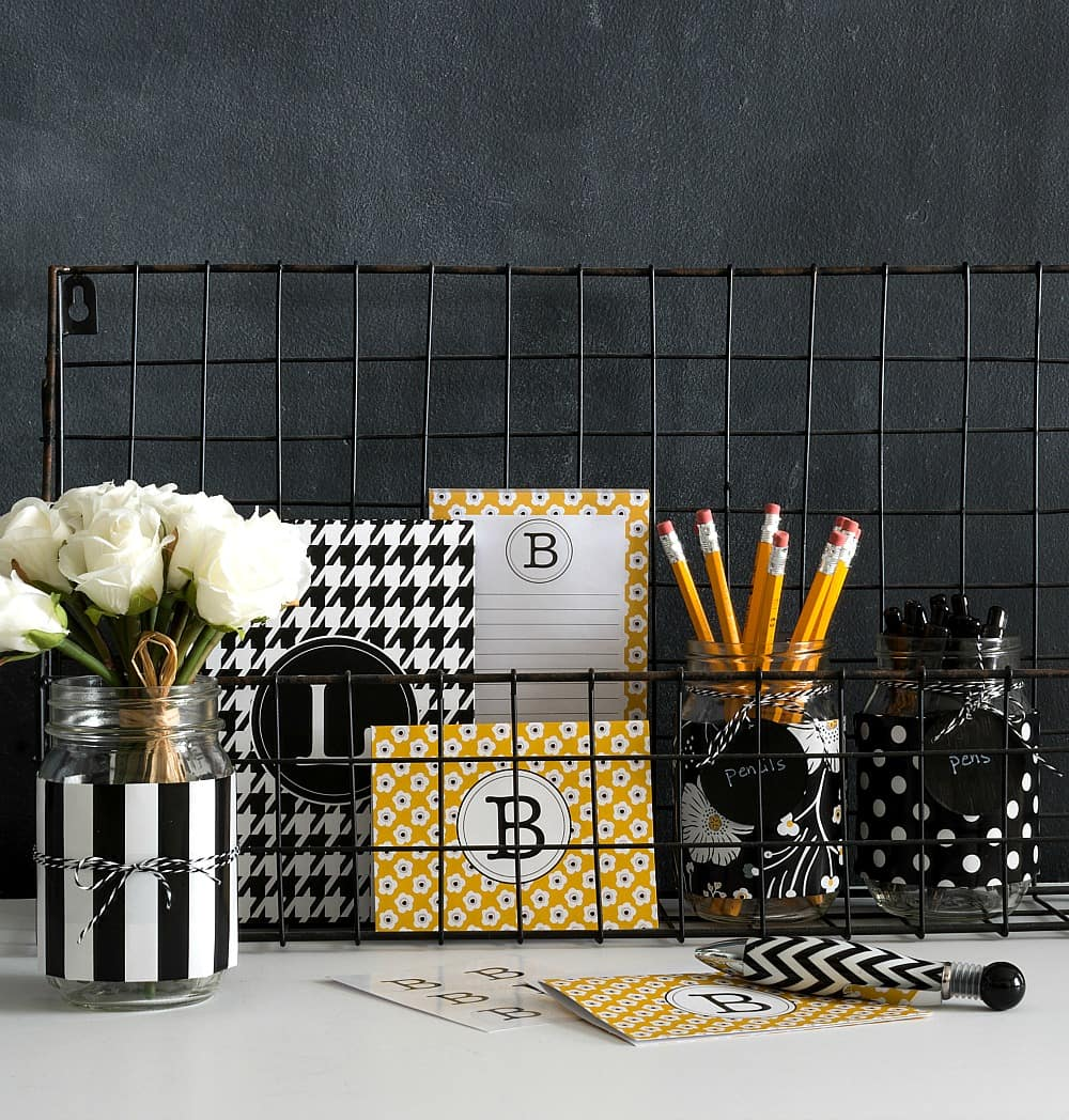 Black and white mason jar desk organizers