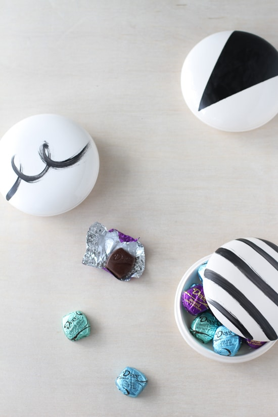 Black and white painted trinket or candy dishes