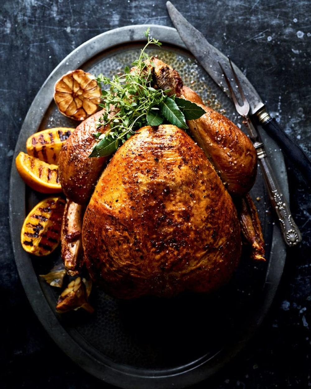 Brined and barbecue roast turkey with beetroot purée and tahini gravy best thanksgiving turkey recipe