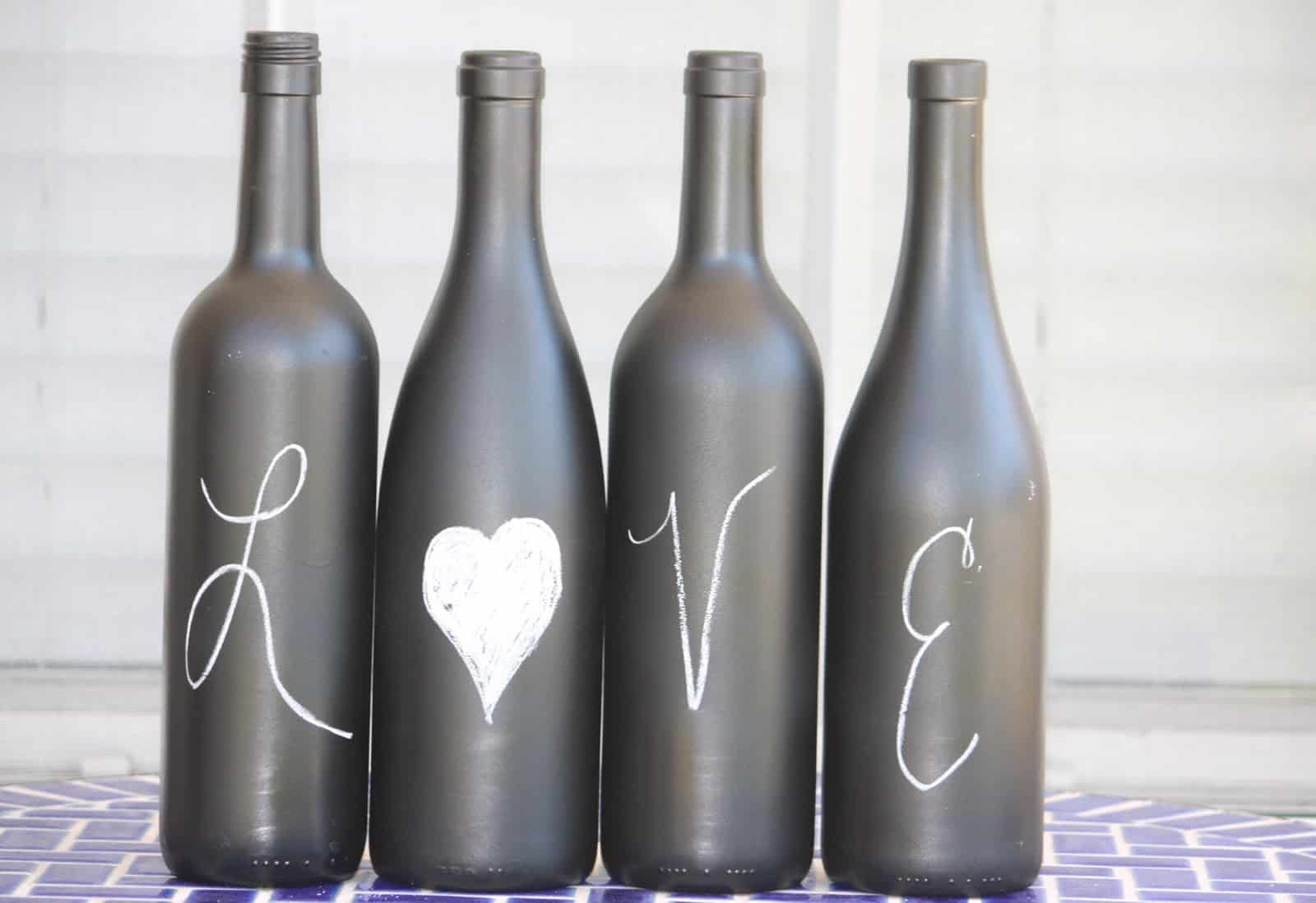 Chalkboard painted bottle decor