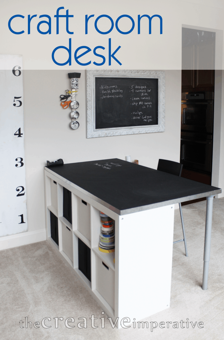 Chalkboard top crafting table with cubby shelves
