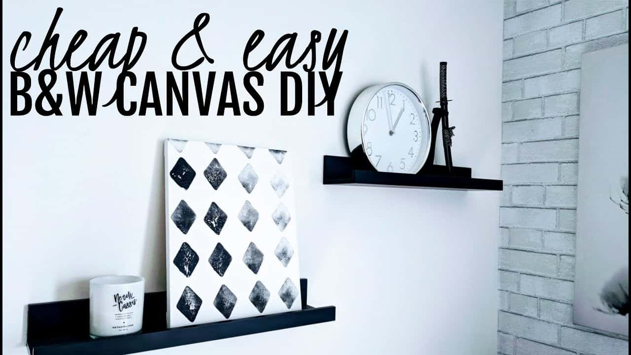 Cheap and easy black and white diamond canvas art