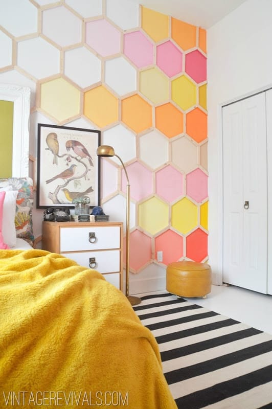 Colour gradient hexagons wall