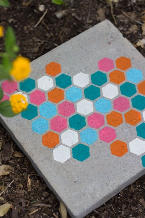 Colourful hexagon stencilled stepping stones