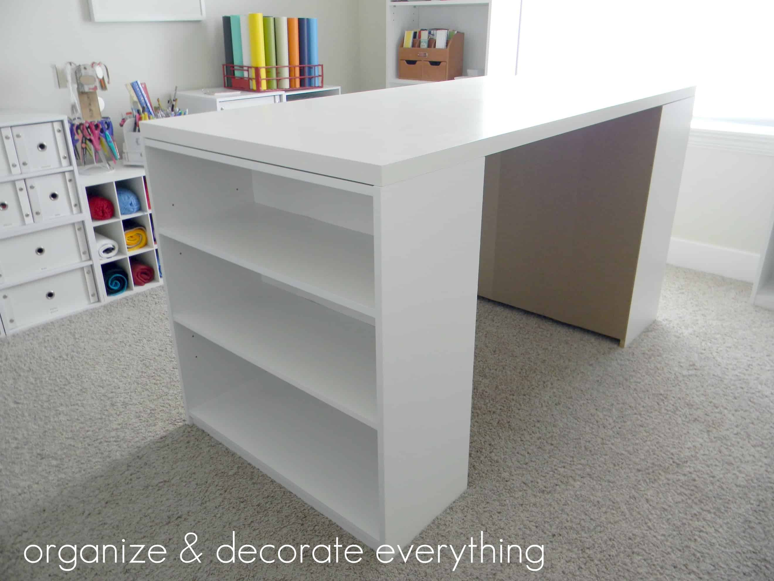 Craft table double ended with bookshelves
