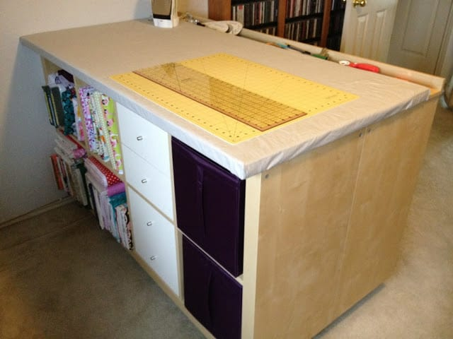 Crafting, sewing, and, fabric cutting table made from ikea expedit shelves