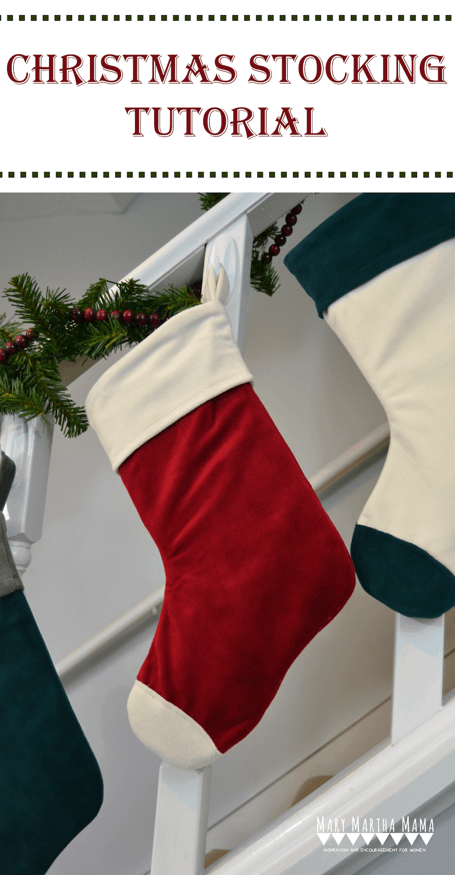 Cuffed velour christmas stocking